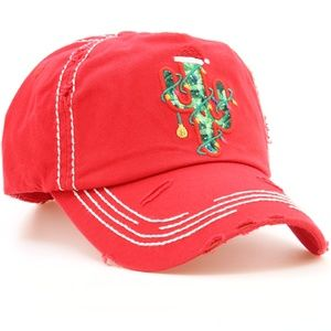 Decorated Cactus Christmas Baseball Hat Cap Red